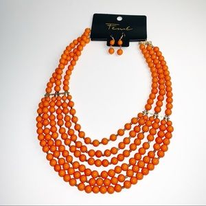 FEME | Orange beaded layered necklace w/ Earrings